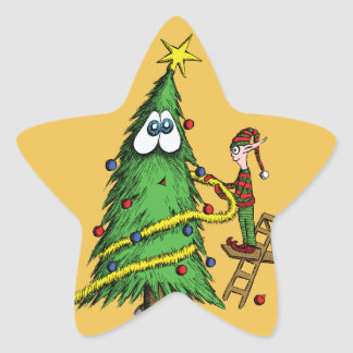 Happy Christmas Tree and Decorating Elf Star Sticker