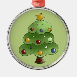 Happy Christmas Tree Metal Ornament