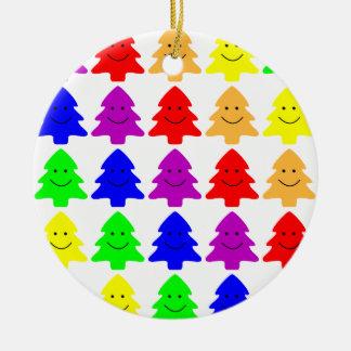 Happy Christmas Trees Ceramic Ornament