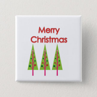 Happy Christmas Trees Pinback Button