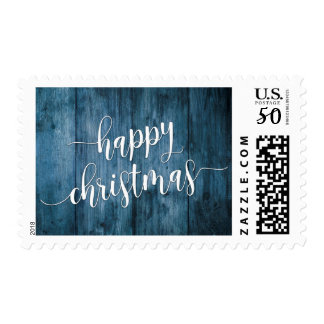 Happy Christmas Typography and Rustic Blue Wood Postage