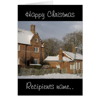 Happy Christmas Village Snow Scene Custom Xmas Card