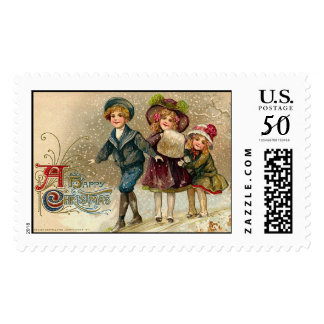 Happy Christmas Vintage Christmas Stamps