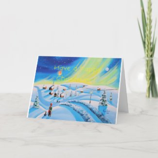 Happy Christmas Winter snow scene folk art Holiday Card