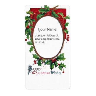 HAPPY CHRISTMAS WISHES PERSONALIZED SHIPPING LABELS