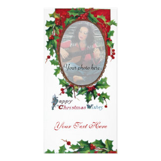 HAPPY CHRISTMAS WISHES WITH HOLLY BERRIES CARD