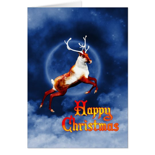 Happy Christmas with a flying reindeer Card
