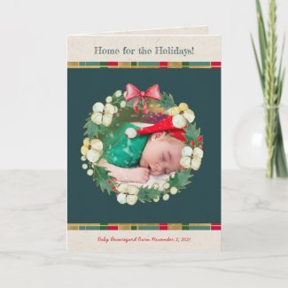 Happy Christmas Wreath Personalized Photo Card