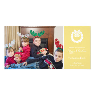 Happy Christmas Wreath Photo Cards (Yellow Gold)