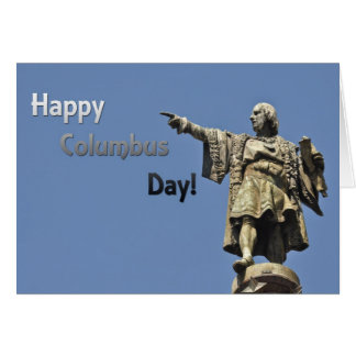 Happy Christopher Columbus Day Statue Greeting Card