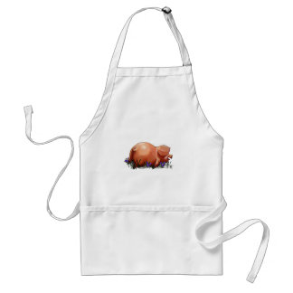 Happy, Chubby, Smiling Pig: Oil Pastel Art Adult Apron