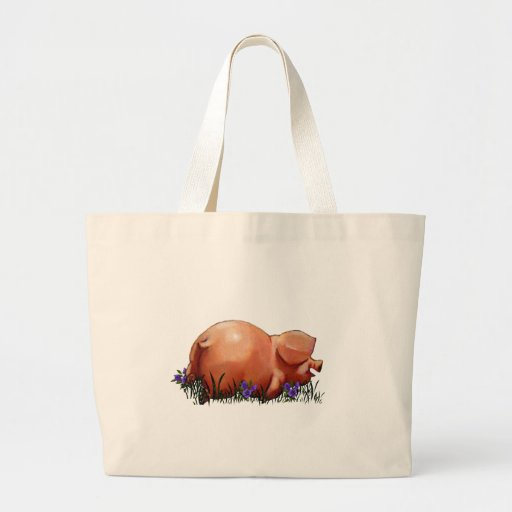 Happy, Chubby, Smiling Pig: Oil Pastel Art Canvas Bags
