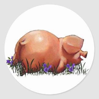 Happy, Chubby, Smiling Pig: Oil Pastel Art Classic Round Sticker