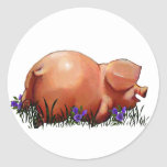Happy, Chubby, Smiling Pig: Oil Pastel Art Stickers