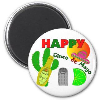 """Happy Cinco de Mayo"" Lime, Tequila & Salt Design 2 Inch Round Magnet"