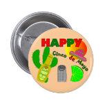 """Happy Cinco de Mayo"" Lime, Tequila & Salt Design Pinback Buttons"