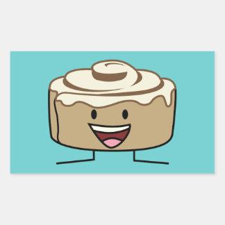 Happy Cinnamon Roll Bun Rectangular Sticker