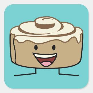 Happy Cinnamon Roll Bun Square Sticker