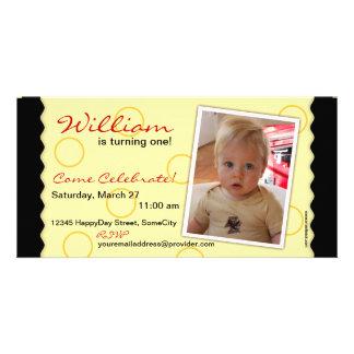 Happy Circle Photo Card: Black & Yellow Card