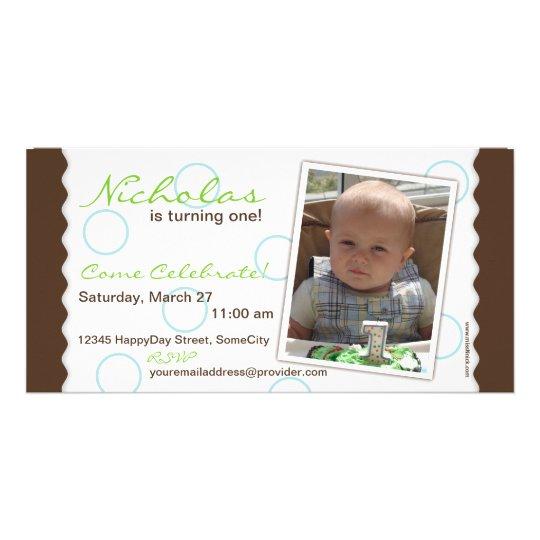 Happy Circle Photo Card: Brown & Blue Card
