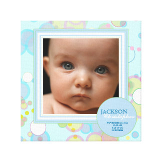 Happy Circles Baby Boy Photo Birth Canvas Gallery Wrapped Canvas