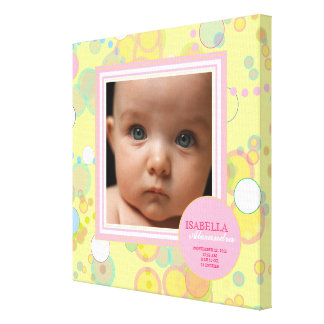 Happy Circles Baby Girl Photo Birth Canvas Canvas Prints