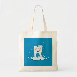 Happy clean tooth tote bags