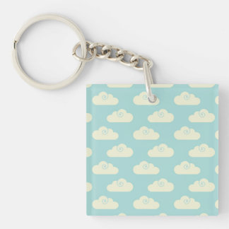 Happy Clouds Blue Sky Single-Sided Square Acrylic Keychain