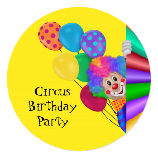 Happy Clown Circus Birthday Party Card