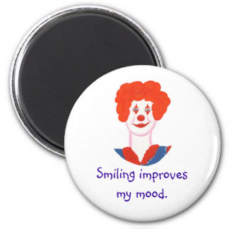 Happy Clown Face, Smiling improves my mood 2 Inch Round Magnet