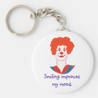 Happy Clown Face, Smiling improves my mood Basic Round Button Keychain