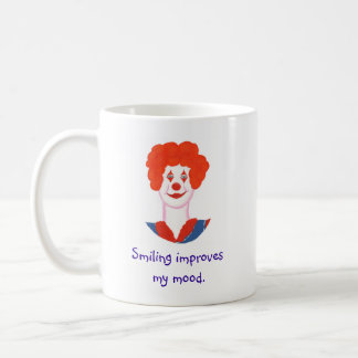 Happy Clown Face, Smiling improves my mood Coffee Mug