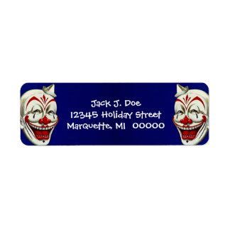 Happy Clown Faces Frame Return address Label