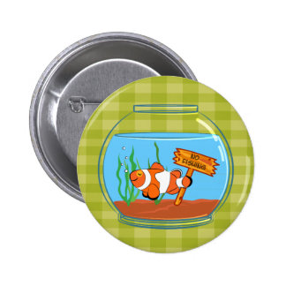 Happy clown fish sleeping in a fish bowl pinback button