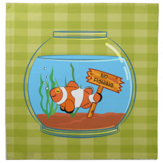 Happy clown fish sleeping in a fish bowl napkin
