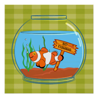 Happy clown fish sleeping in a fish bowl posters