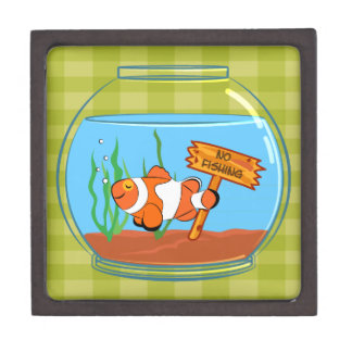 Happy clown fish sleeping in a fish bowl premium jewelry box