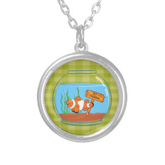 Happy clown fish sleeping in a fish bowl silver plated necklace
