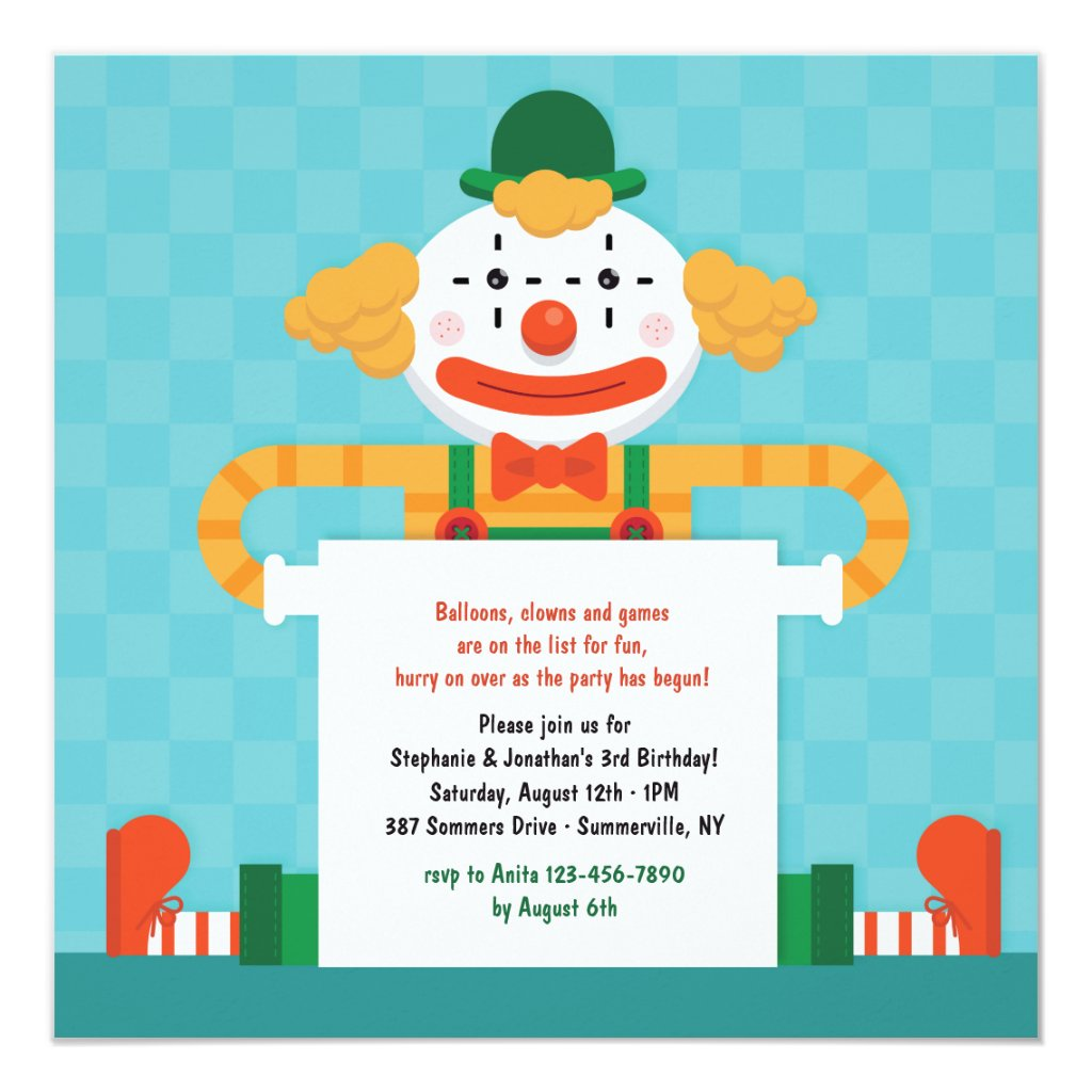 Happy Clown Invitation