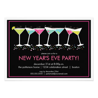 Happy Cocktails New Years Eve Party Invitation