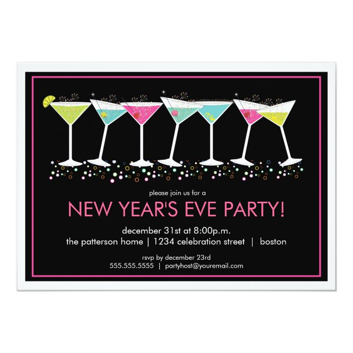 Happy cocktails new years eve party invitation zazzle for Terrace new year party