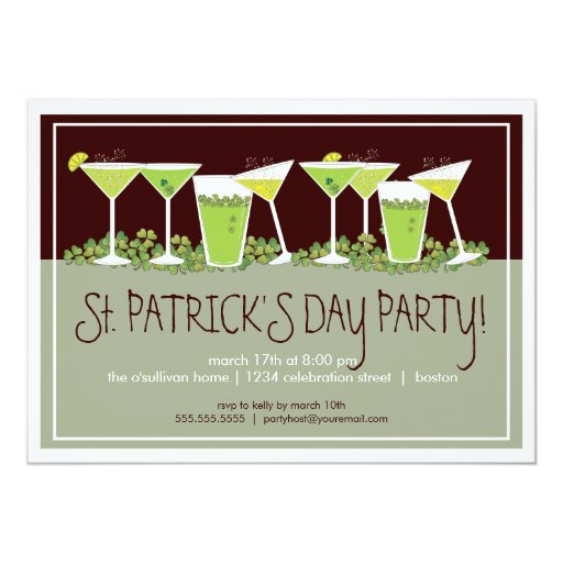 Happy Cocktails St. Patrick's Day Party Invitation