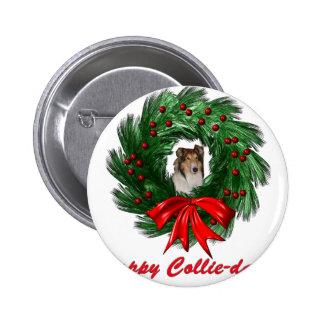 Happy Collie-days Wreath 2 Inch Round Button