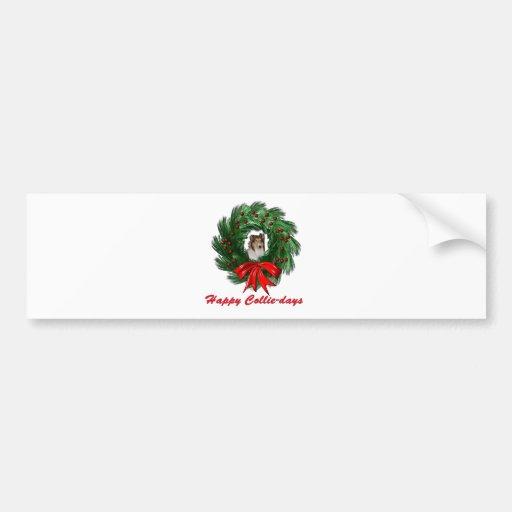 Happy Collie-days Wreath Car Bumper Sticker
