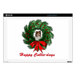 "Happy Collie-days Wreath Decal For 17"" Laptop"