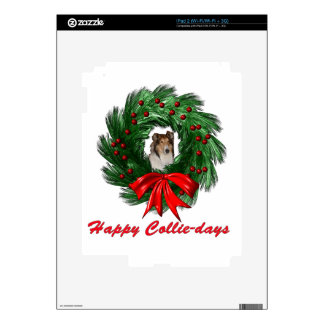 Happy Collie-days Wreath Decal For iPad 2