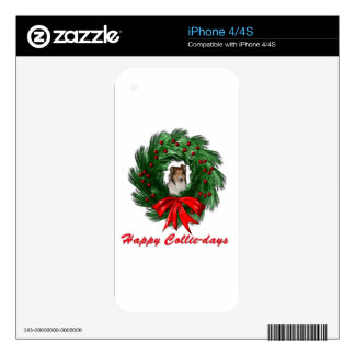 Happy Collie-days Wreath Decal For iPhone 4