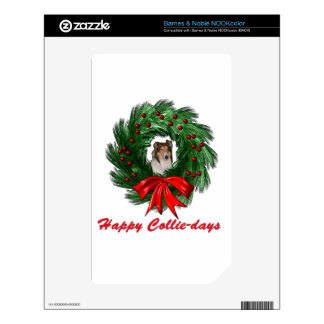 Happy Collie-days Wreath Decals For The NOOK Color