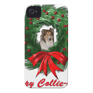 Happy Collie-days Wreath iPhone 4 Cases
