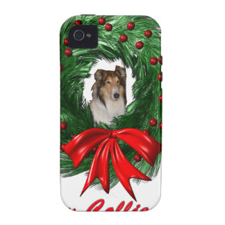 Happy Collie-days Wreath iPhone 4 Cover